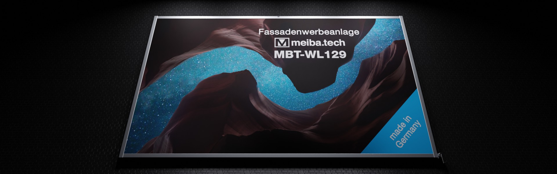Facade advertising system MBT-WL129 with banner lift, illuminated, bottom view