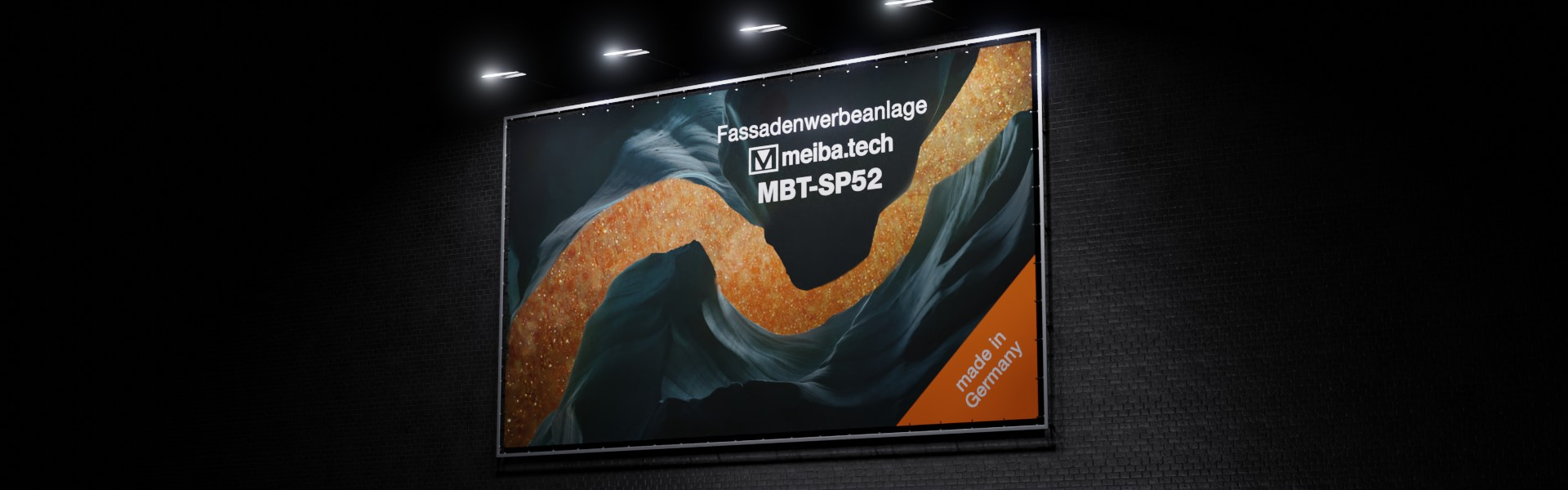 MBT-SP52: Modular advertising system for the attachment of facade advertising, side view illuminated