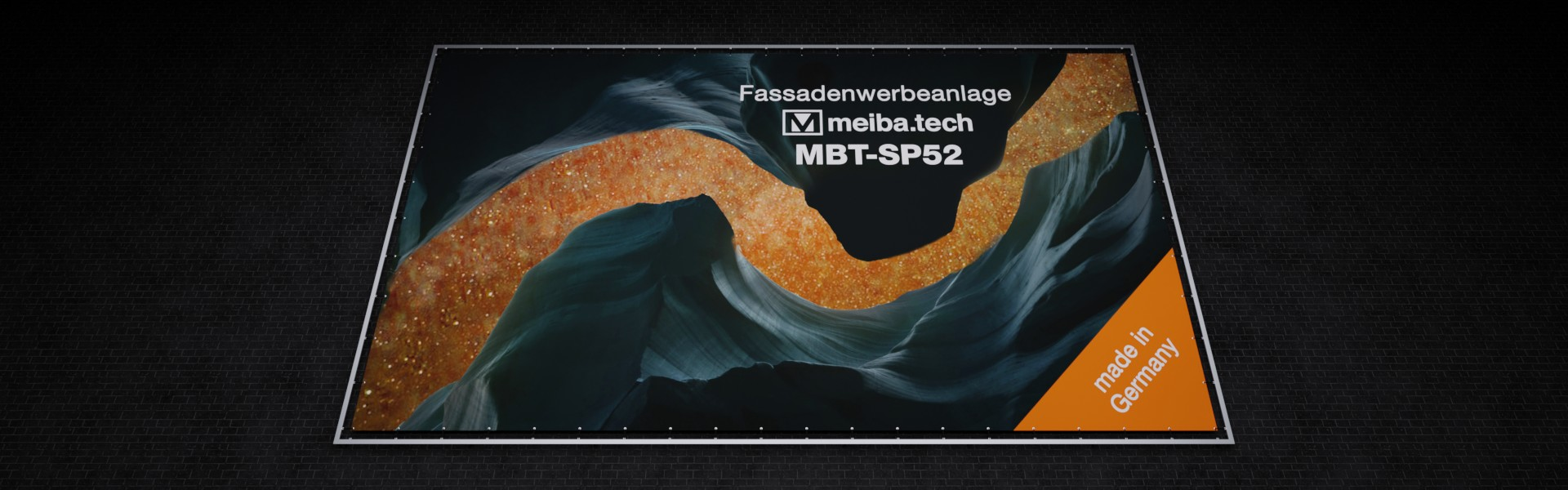 MBT-SP52: Modular advertising system for the attachment of facade advertising, mounting from the front below