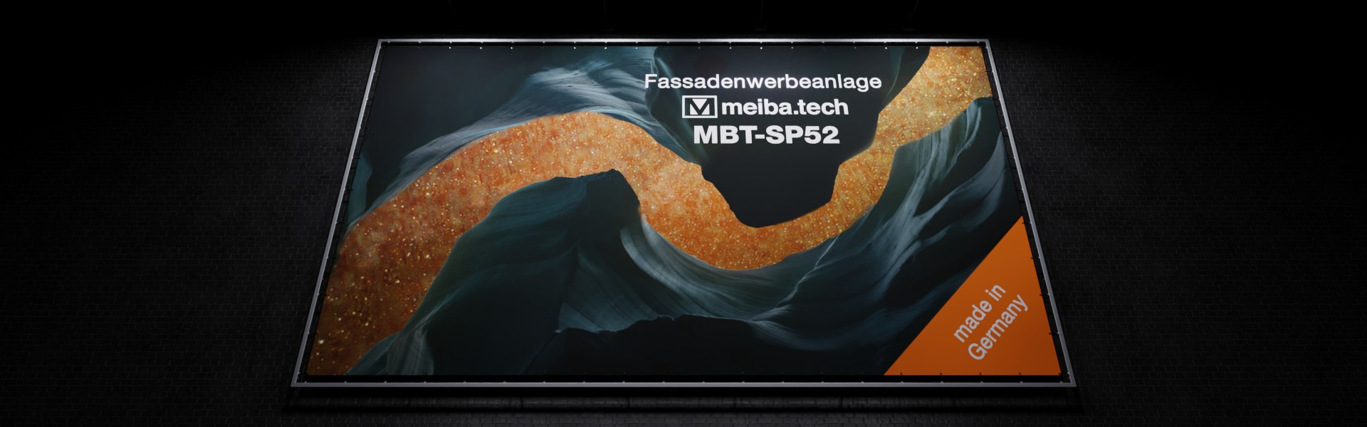 MBT-SP52: Modular advertising system for the attachment of facade advertising, lighted from the front below