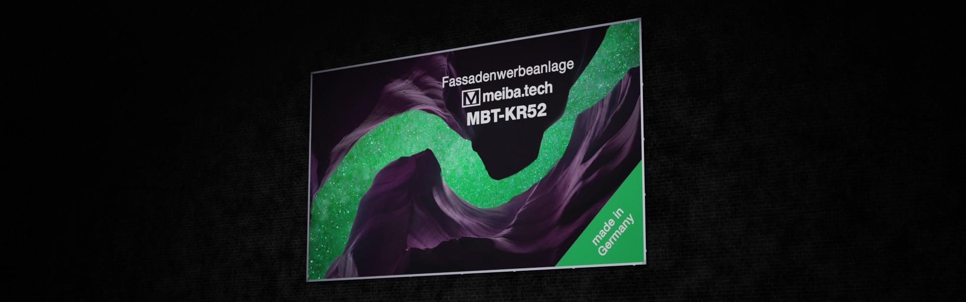 Werbeanlage MBT-KR52 für langfristige Bannerwerbung an Fassaden, seitliche Ansicht