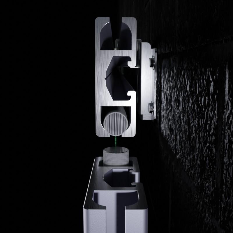 Werbeanlage MBT-KR52: Seitenansicht Aluminiumprofile mit Rundkeder und Spannhalter