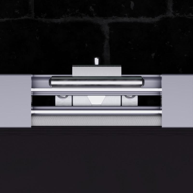 Werbeanlage MBT-KR52: Querschnitt durch das Aluminiumprofil mit Spannhalter und Keder